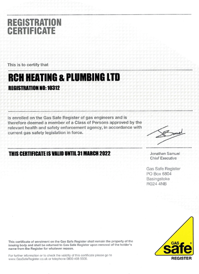 Gas Safe Register Certificate